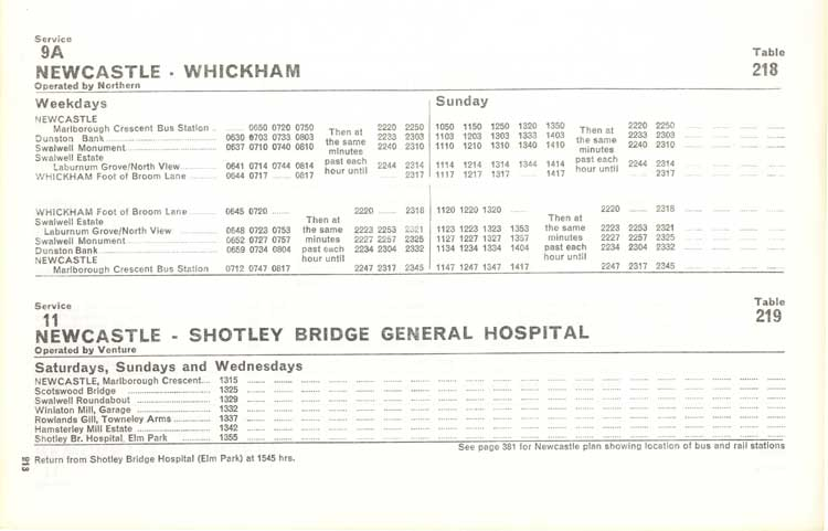Northern Timetable No 9a