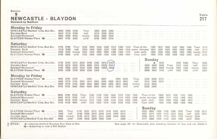 Northern Timetable No 9